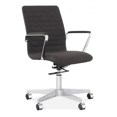 Barclay Office Chair in Cashmere with Ribbed Back - Dark Grey