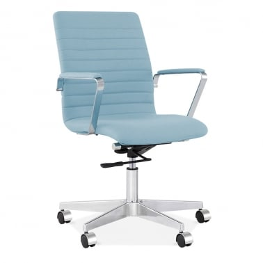 Barclay Office Chair in Cashmere with Ribbed Back - Pastel Blue