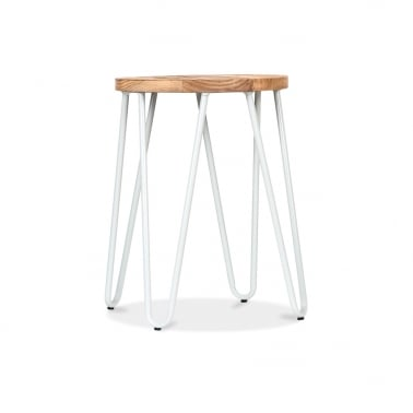 Hairpin Stool with Wood Seat Option - White 44cm
