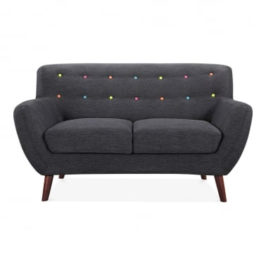 Trent 2 Seater Small Sofa, Fabric Upholstered, Dark Grey