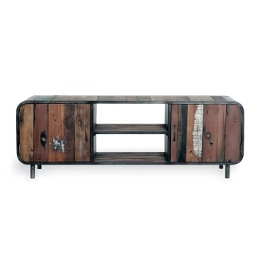 Havana Retro Media Unit, Reclaimed Boat Wood and Steel, Brown