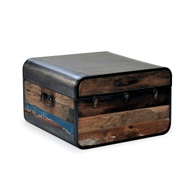 Havana Retro Trunk Coffee Table, Reclaimed Boat Wood and Steel, Brown