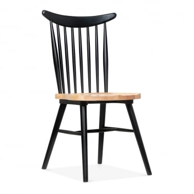 Windsor Curve Chair - Black / Natural Seat