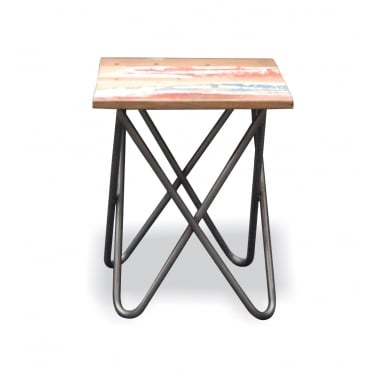 Titanic Cross Side Table, Reclaimed Boatwood and Steel, Natural