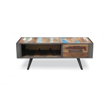 Havana TV and Media Unit, Reclaimed Boat Wood and Steel, Brown