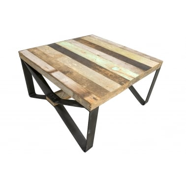 Crossed Leg Coffee Table, Reclaimed Teak Wood and Steel