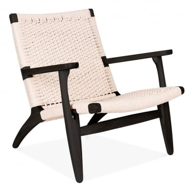 CH25 Lounge Chair - Black / Natural Seat