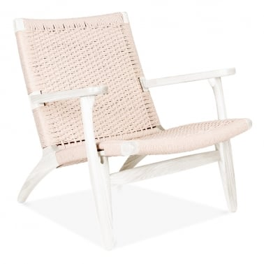 CH25 Lounge Chair - White / Natural Seat