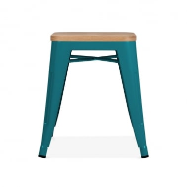 Tolix Stool Powder Coated with Natural Wood Seat - Teal 45cm