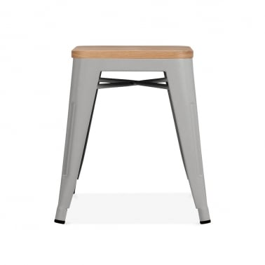 Tolix Style Metal Low Stool with Natural Wood Seat - Cool Grey Matte 45cm