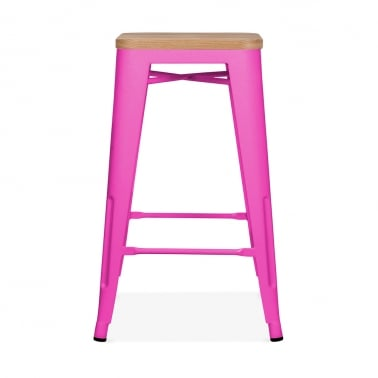 Tolix Style Metal Stool with Natural Wood Seat - Hot Pink 65cm