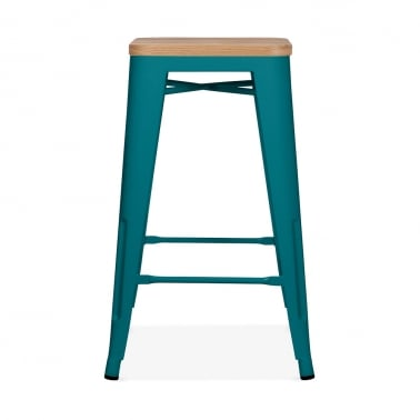 Tolix Style Metal Stool with Natural Wood Seat - Teal 65cm