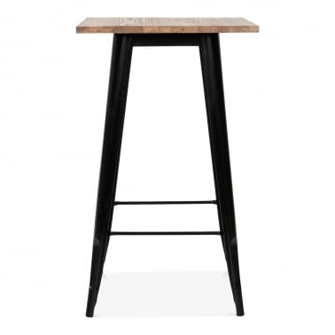Black Tolix Style Metal High Table with Wood Top, 102cm
