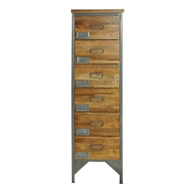 6-Drawer Apothecary Tall Boy Chest of Drawers, Mango Wood and Steel