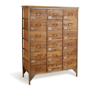 Titanic 18-Drawer Apothecary Chest, Mango Wood and Steel, Brown