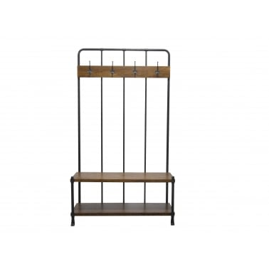 Hallway Coat Rack and Storage Bench, Mango Wood and Steel