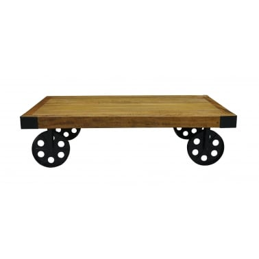 Industrial Coffee Table with Wheels, Mango Wood and Steel