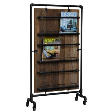 Wide Kitchen Storage Rack, Reclaimed Teak Wood and Pipe