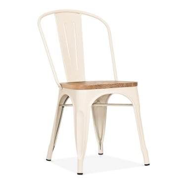 Tolix Style Metal Side Chair with Wood Seat Option - Cream