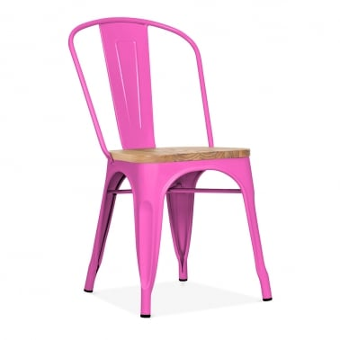 Tolix Style Metal Side Chair With Natural Wood Seat - Hot Pink