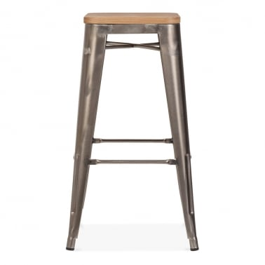 Tolix Style Stool with Wood Seat Option - Gunmetal 75cm