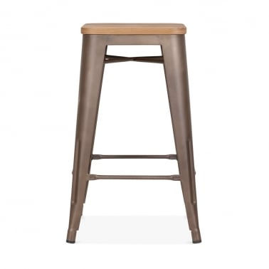 Tolix Style Metal Stool with Option Wood Seat - Rustic 65cm