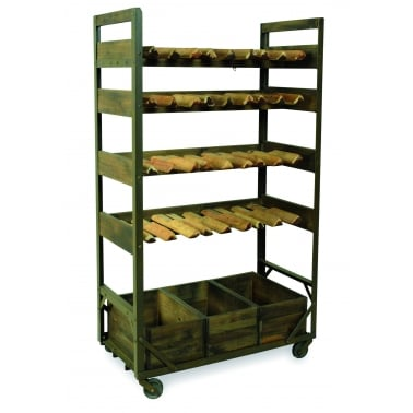 Wine Rack Storage Unit, Reclaimed Mango Wood and Steel