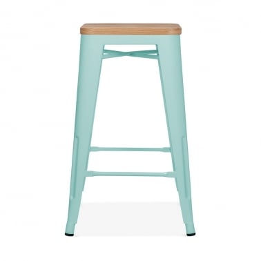 Tolix Style Stool with Natural Wood Seat - Duck Egg 65cm