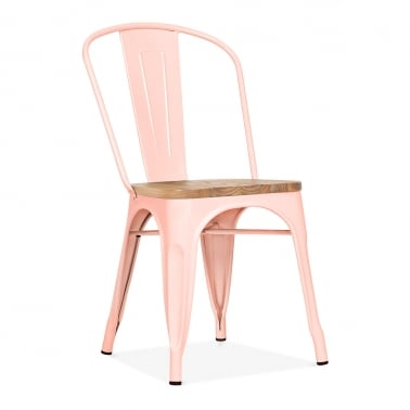 Tolix Style Metal Side Chair with Wood Seat Option - Pastel Pink