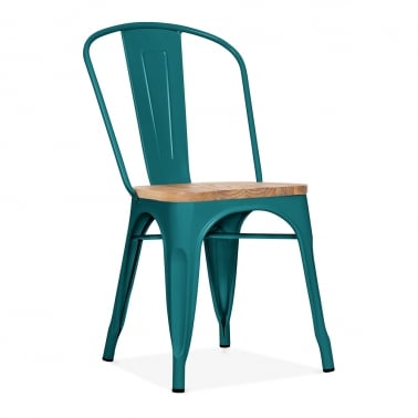Tolix Style Metal Side Chair with Natural Wood Seat - Teal