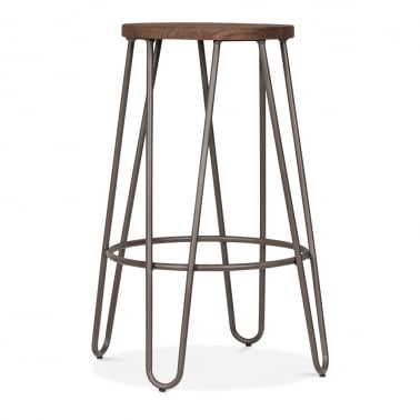 Hairpin Stool with Dark Wood Seat - Rustic 66cm