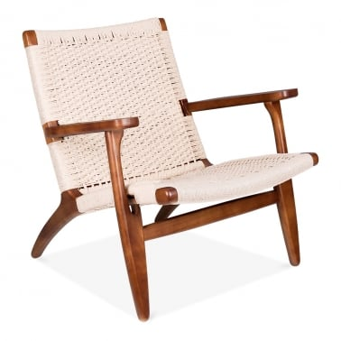 CH25 Lounge Chair - Brown / Natural Seat
