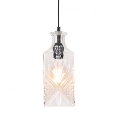 Cognac Decanter Hanging Light - Clear / Black
