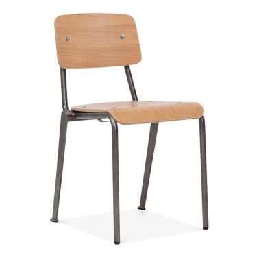 French School Chair With Wood Finish Option - Gunmetal