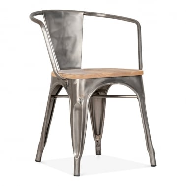 Tolix Style Armchair with Wood Seat Option - Gunmetal