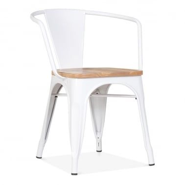 Tolix Style Armchair with Wood Seat Option - White
