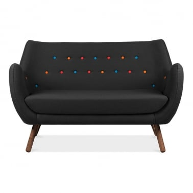 Poet 2 Seater Sofa - Black / Multicolour Buttons