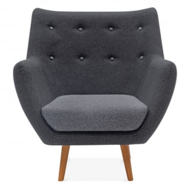 Poet Lounge Armchair - Dark Grey / Grey Buttons
