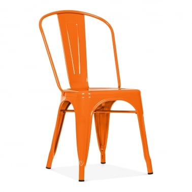 Tolix Style Metal Side Chair - Orange