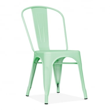 Tolix Style Metal Side Chair - Peppermint