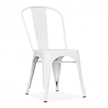 Tolix Style Metal Side Chair - White