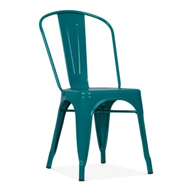 Tolix Style Metal Side Chair - Teal