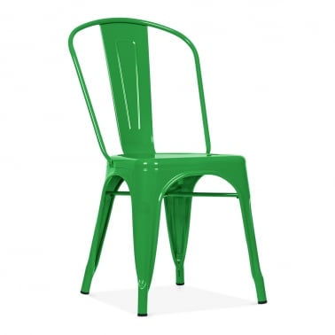 Tolix Style Metal Side Chair - Green