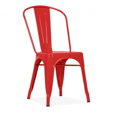 Tolix Style Metal Side Chair - Red