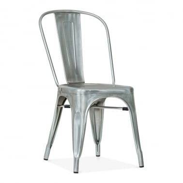Tolix Style Metal Side Chair - Galvanised