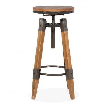Edward Industrial Swivel Stool - Gunmetal