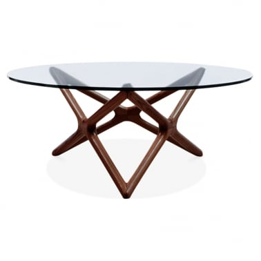 Star Glass Top Coffee Table - Walnut 100cm