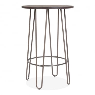 Hairpin High Table With Solid Wood Top - Rustic