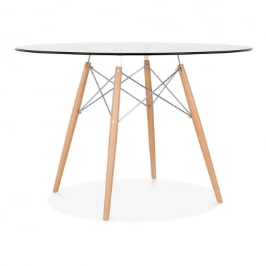 DSW Glass Dining Table with Chrome Brace - 110cm Diameter