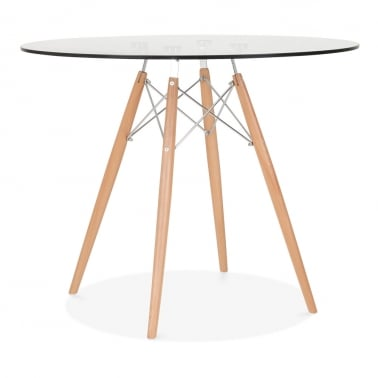 DSW Glass Dining Table with Chrome Brace - 90cm Diameter